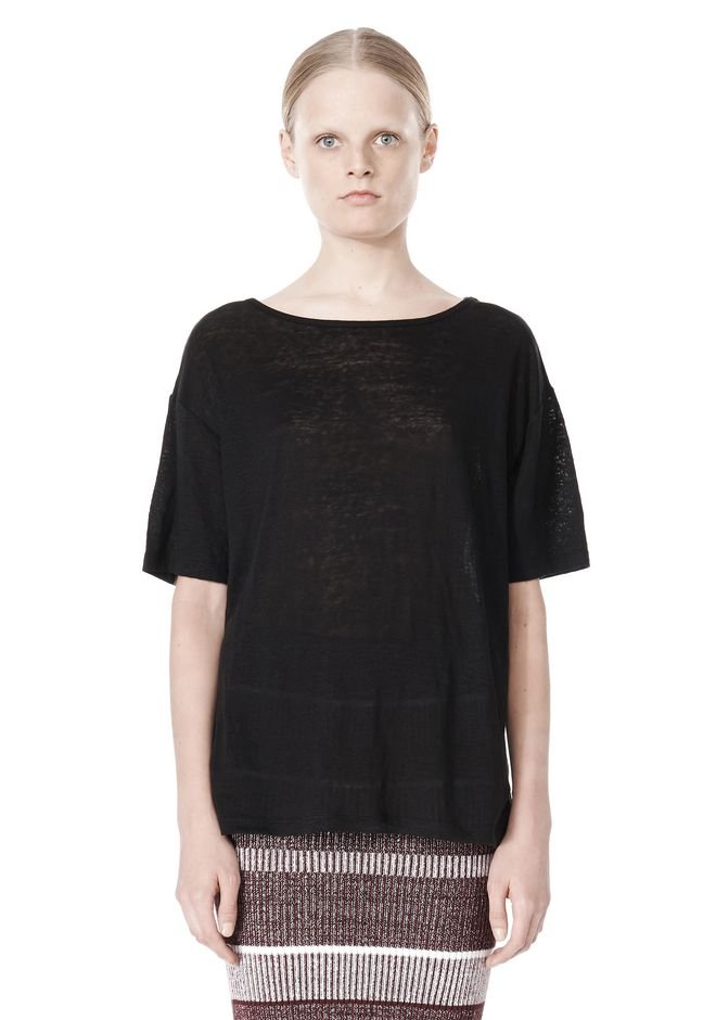T by ALEXANDER WANG LINEN SILK JERSEY OVERSIZED TEE TOP Adult 12_n_e