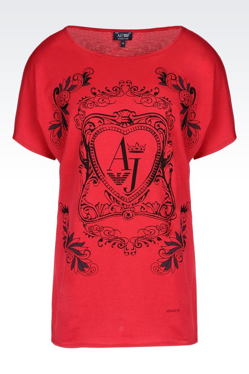 T-SHIRT IN COTTON JERSEY: Print t-shirts Women by Armani - 1