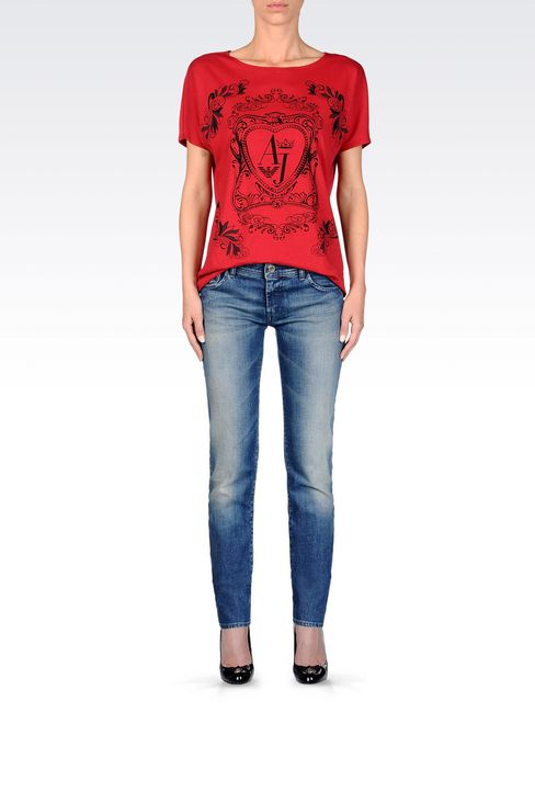 T-SHIRT IN COTTON JERSEY: Print t-shirts Women by Armani - 2