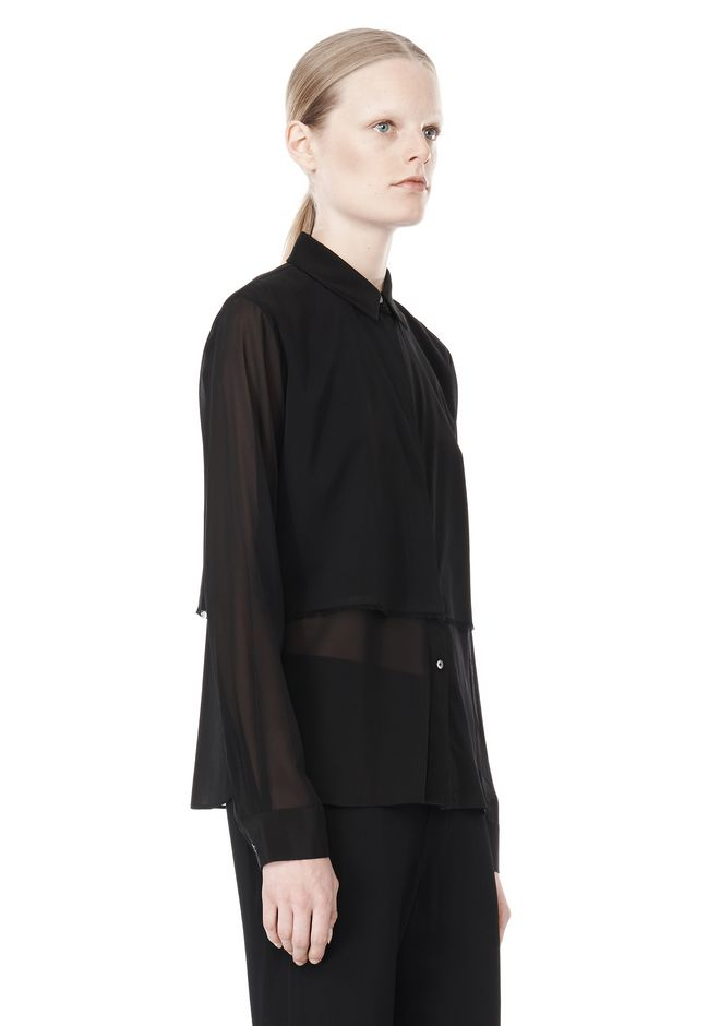 T by ALEXANDER WANG FRAYED SILK CHIFFON LONG SLEEVE SHIRT Shirt Adult 12_n_a
