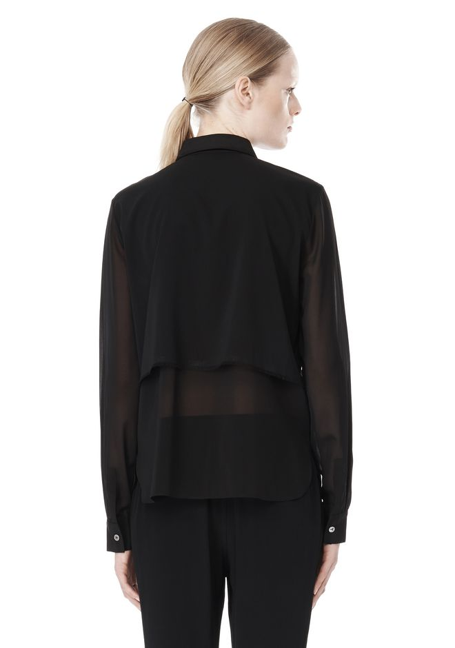 T by ALEXANDER WANG FRAYED SILK CHIFFON LONG SLEEVE SHIRT Shirt Adult 12_n_d
