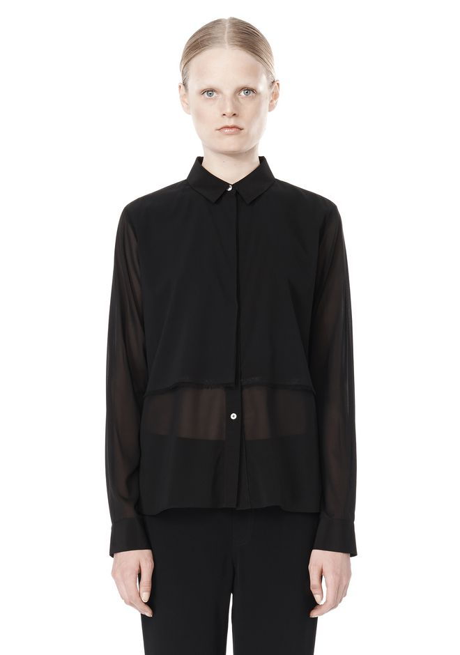 T by ALEXANDER WANG FRAYED SILK CHIFFON LONG SLEEVE SHIRT Shirt Adult 12_n_e