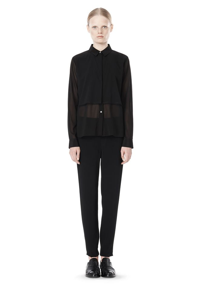 T by ALEXANDER WANG FRAYED SILK CHIFFON LONG SLEEVE SHIRT Shirt Adult 12_n_f