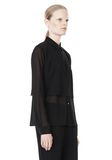 T by ALEXANDER WANG FRAYED SILK CHIFFON LONG SLEEVE SHIRT Shirt Adult 8_n_a