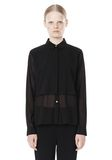 T by ALEXANDER WANG FRAYED SILK CHIFFON LONG SLEEVE SHIRT Shirt Adult 8_n_e