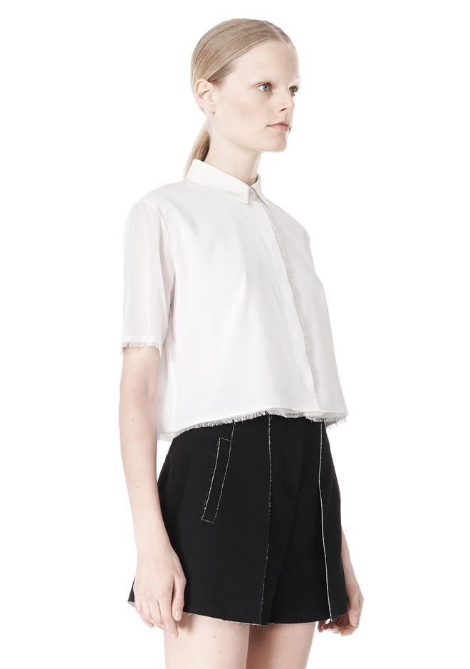 T by ALEXANDER WANG FRAYED SILK CHIFFON SHORT SLEEVE SHIRT Shirt Adult 12_n_a