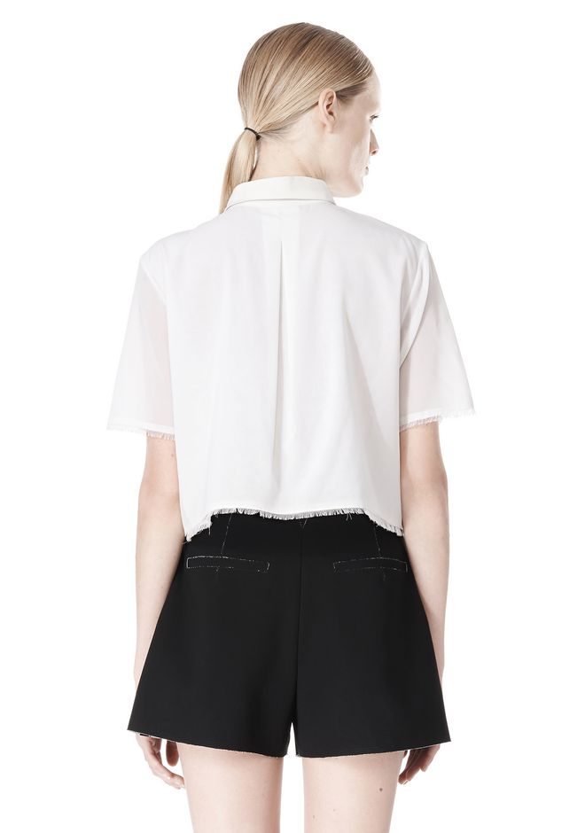 T by ALEXANDER WANG FRAYED SILK CHIFFON SHORT SLEEVE SHIRT Shirt Adult 12_n_d