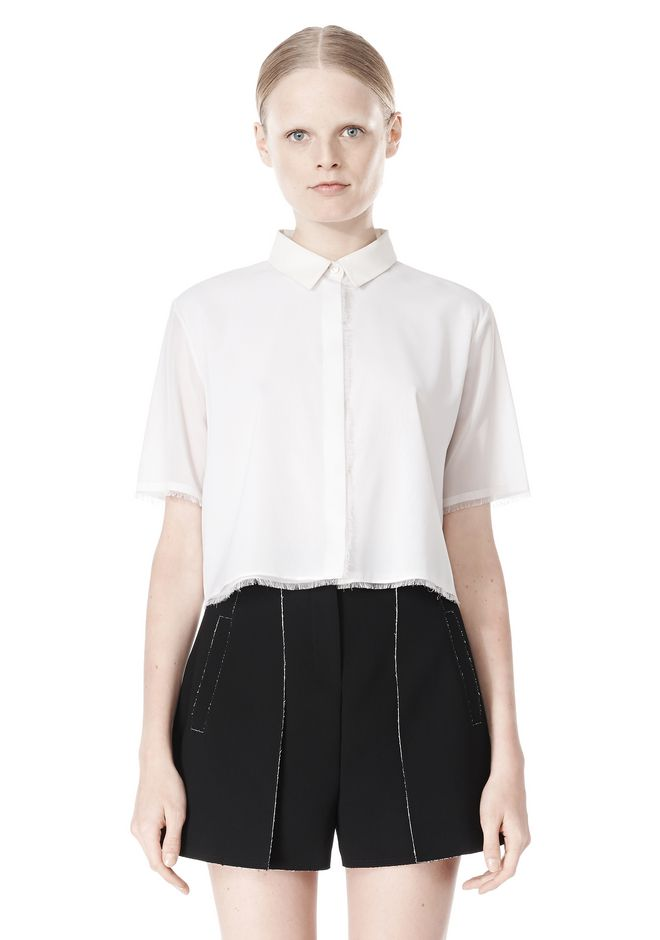 T by ALEXANDER WANG FRAYED SILK CHIFFON SHORT SLEEVE SHIRT Shirt Adult 12_n_e