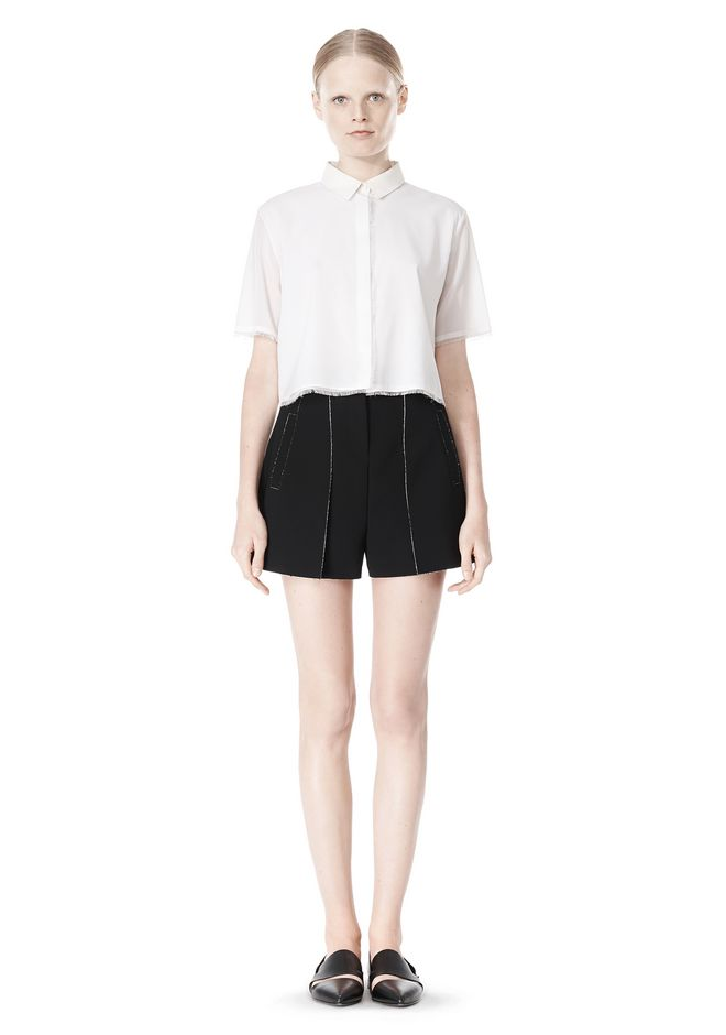 FRAYED SILK CHIFFON SHORT SLEEVE SHIRT