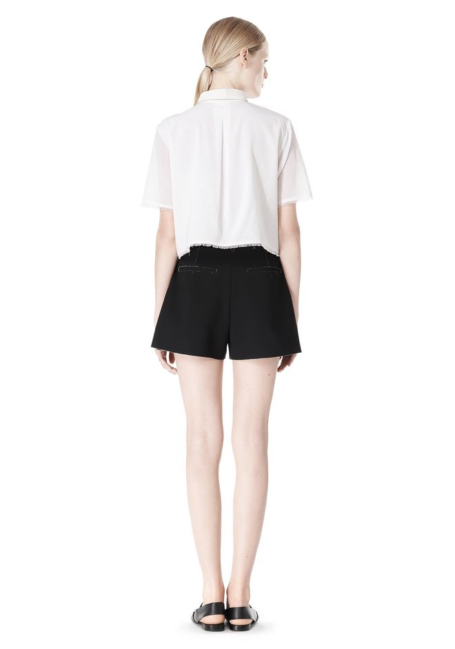 T by ALEXANDER WANG FRAYED SILK CHIFFON SHORT SLEEVE SHIRT Shirt Adult 12_n_r