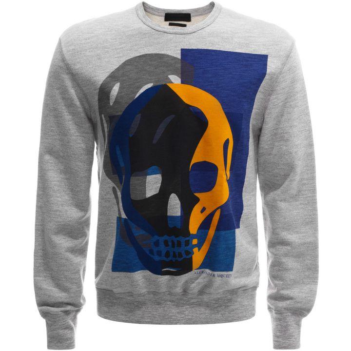 Alexander McQueen, Flocked Skull Print Sweatshirt