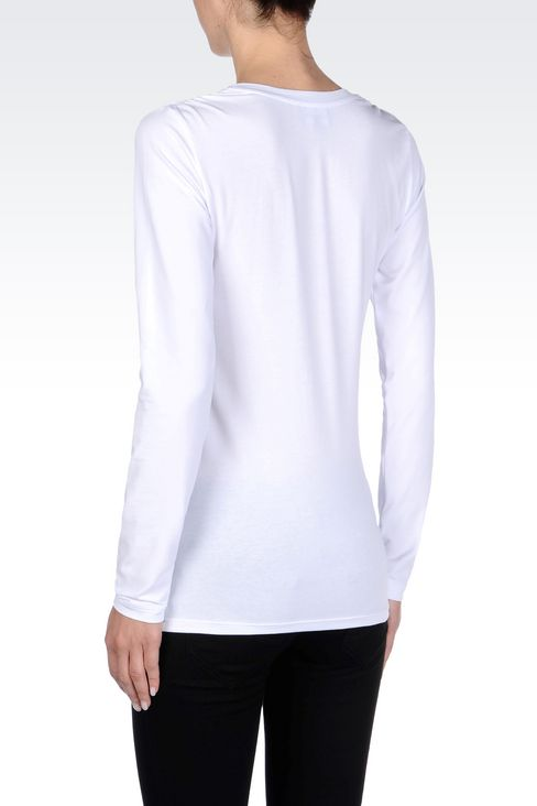 T-SHIRT IN STRETCH COTTON: Long-sleeve t-shirts Women by Armani - 4