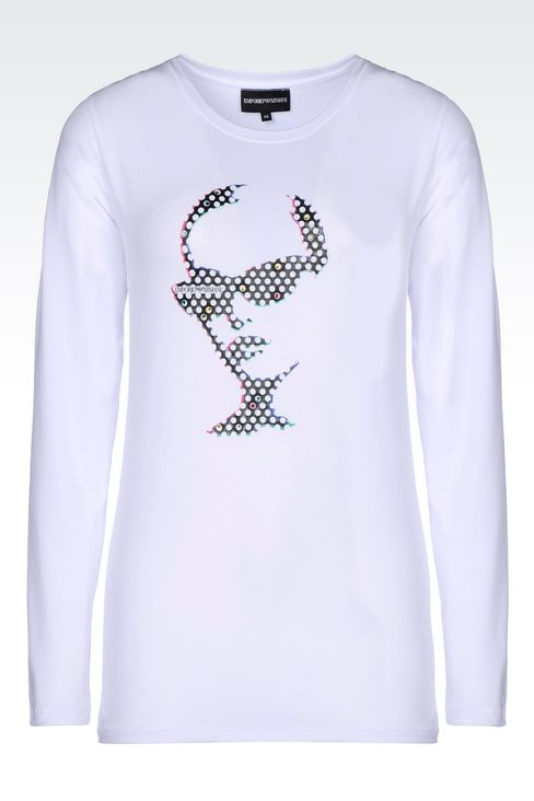 T-SHIRT IN STRETCH COTTON: Long-sleeve t-shirts Women by Armani - 1