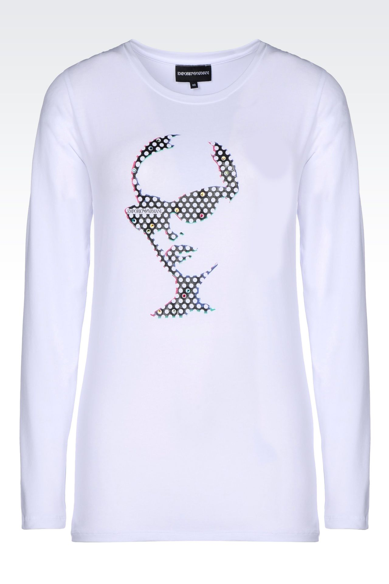 T-SHIRT IN STRETCH COTTON: Long-sleeve t-shirts Women by Armani - 0