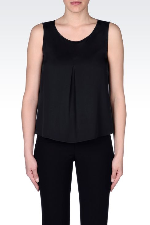 TOP IN CRÊPE DE CHINE: Sleeveless tops Women by Armani - 3