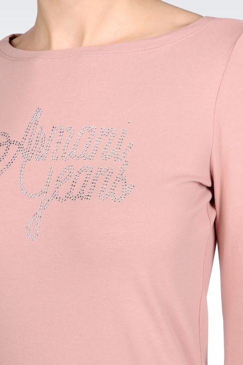 T-SHIRT IN STRETCH COTTON JERSEY: Print t-shirts Women by Armani - 5