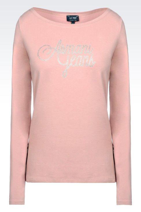 T-SHIRT IN STRETCH COTTON JERSEY: Print t-shirts Women by Armani - 1