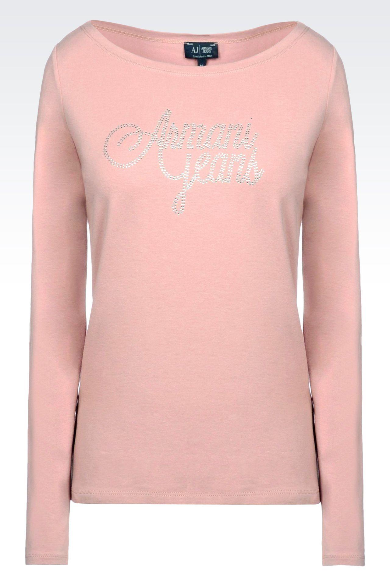T-SHIRT IN STRETCH COTTON JERSEY: Print t-shirts Women by Armani - 0