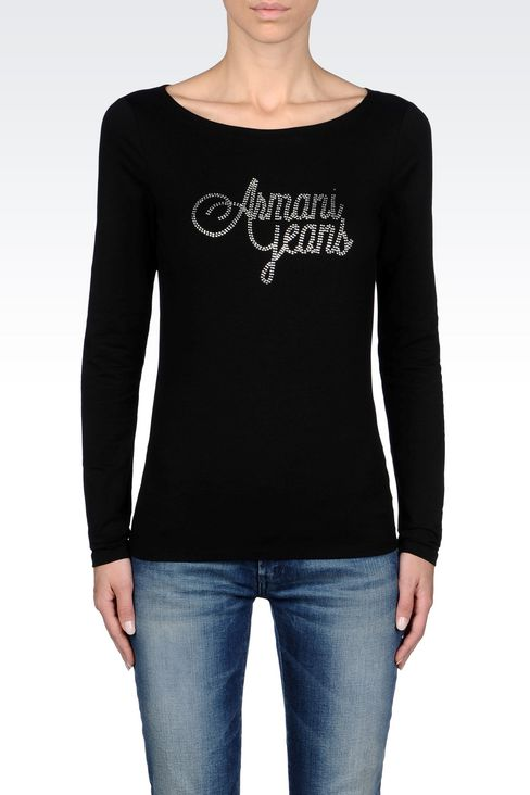 T-SHIRT IN STRETCH COTTON JERSEY: Print t-shirts Women by Armani - 3