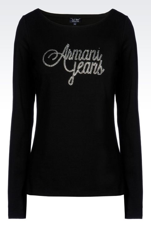 T-SHIRT IN STRETCH COTTON JERSEY: Print t-shirts Women by Armani - 1