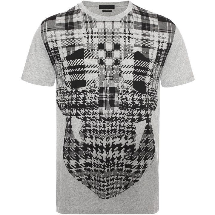 Alexander McQueen, Check Skull Print T-Shirt