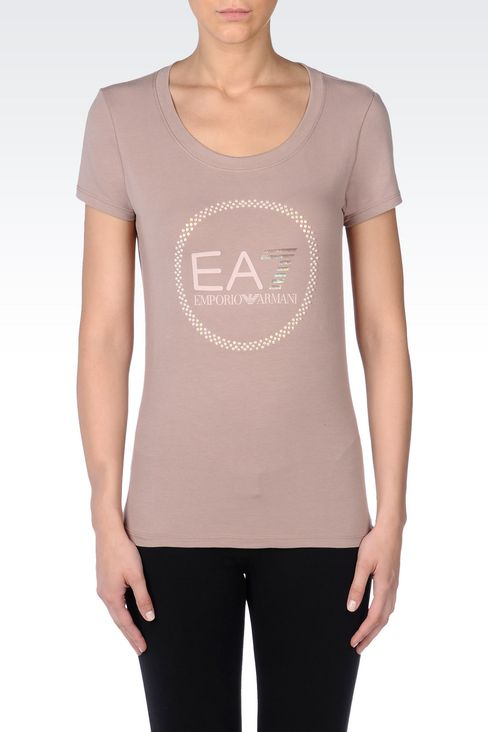 T-SHIRT IN STRETCH COTTON WITH PEARL APPLIQUÉ: Short sleeved t-shirts Women by Armani - 3