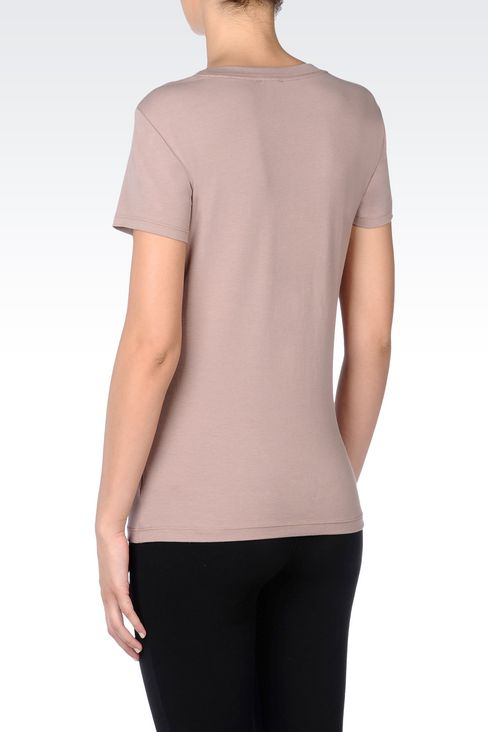 T-SHIRT IN STRETCH COTTON WITH PEARL APPLIQUÉ: Short sleeved t-shirts Women by Armani - 4
