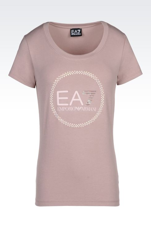 T-SHIRT IN STRETCH COTTON WITH PEARL APPLIQUÉ: Short sleeved t-shirts Women by Armani - 1