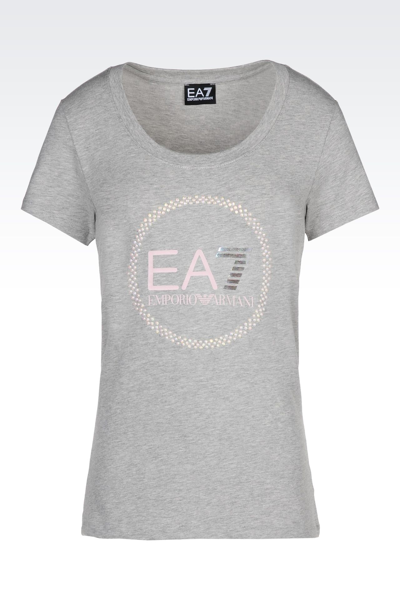 T-SHIRT IN STRETCH COTTON WITH PEARL APPLIQUÉ: Short sleeved t-shirts Women by Armani - 0