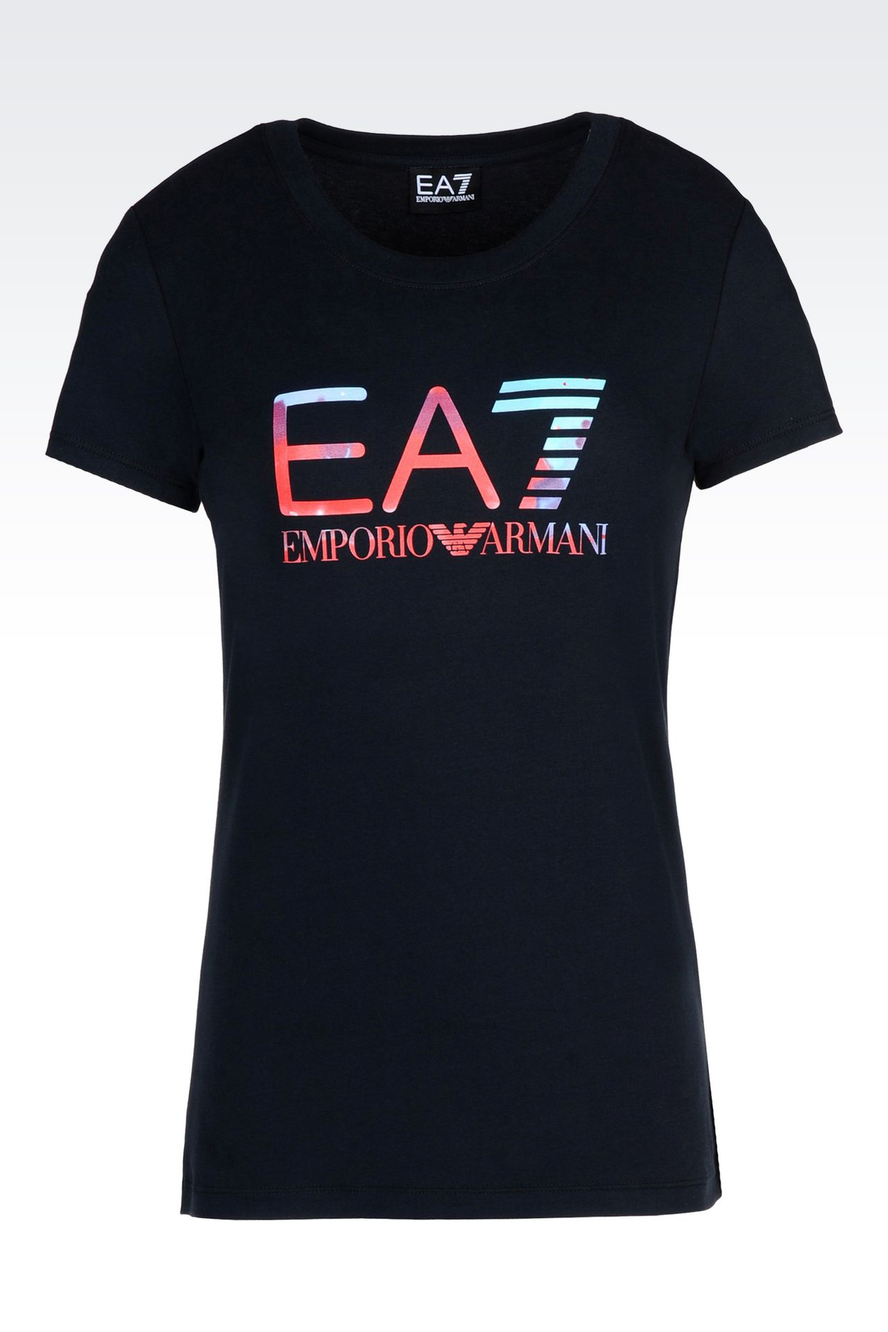 T-SHIRT IN STRETCH COTTON WITH LOGO PRINT: Short sleeved t-shirts Women by Armani - 0