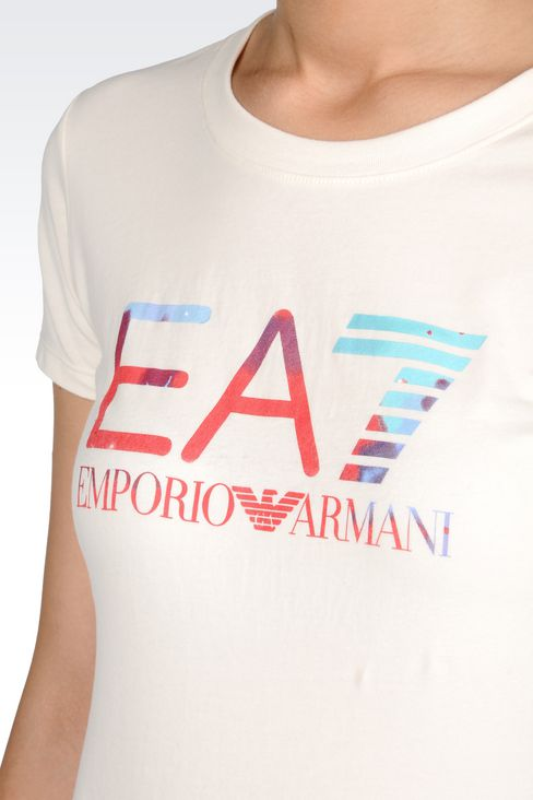 T-SHIRT IN STRETCH COTTON WITH LOGO PRINT: Short sleeved t-shirts Women by Armani - 5