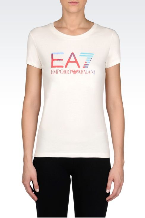 T-SHIRT IN STRETCH COTTON WITH LOGO PRINT: Short sleeved t-shirts Women by Armani - 3