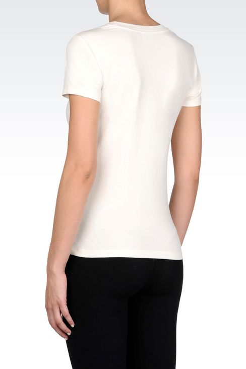 T-SHIRT IN STRETCH COTTON WITH LOGO PRINT: Short sleeved t-shirts Women by Armani - 4
