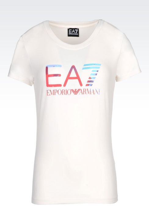 T-SHIRT IN STRETCH COTTON WITH LOGO PRINT: Short sleeved t-shirts Women by Armani - 1