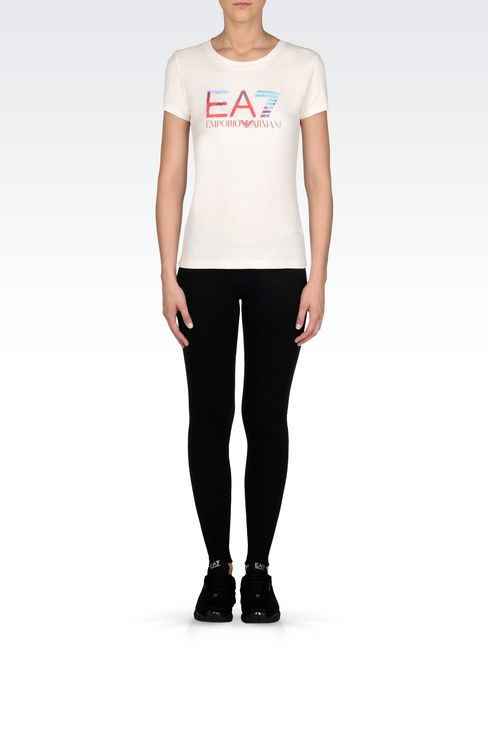 T-SHIRT IN STRETCH COTTON WITH LOGO PRINT: Short sleeved t-shirts Women by Armani - 2