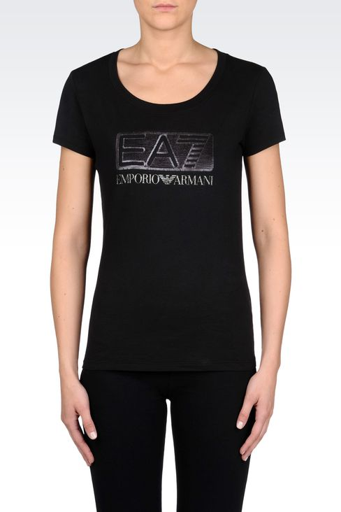 T-SHIRT IN STRETCH COTTON WITH SEQUIN LOGO: Short sleeved t-shirts Women by Armani - 3