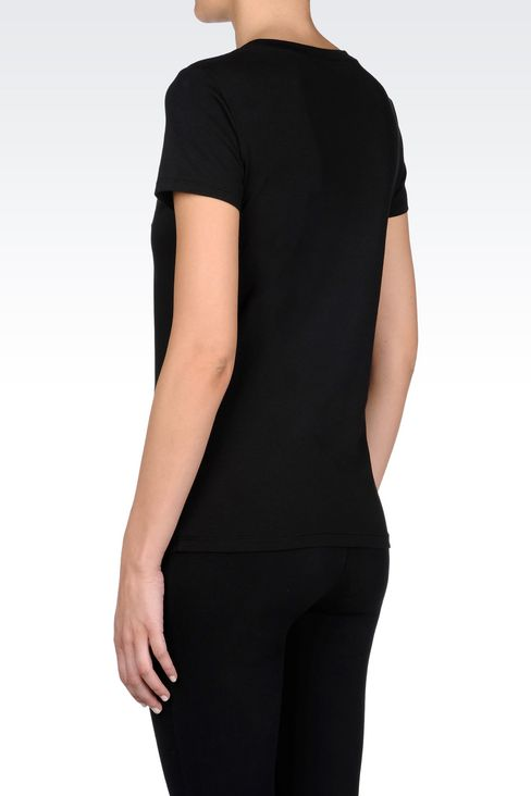 T-SHIRT IN STRETCH COTTON WITH SEQUIN LOGO: Short sleeved t-shirts Women by Armani - 4