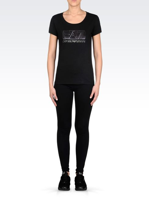 T-SHIRT IN STRETCH COTTON WITH SEQUIN LOGO: Short sleeved t-shirts Women by Armani - 2