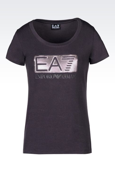 T-SHIRT IN STRETCH COTTON WITH SEQUIN LOGO: Short sleeved t-shirts Women by Armani - 1