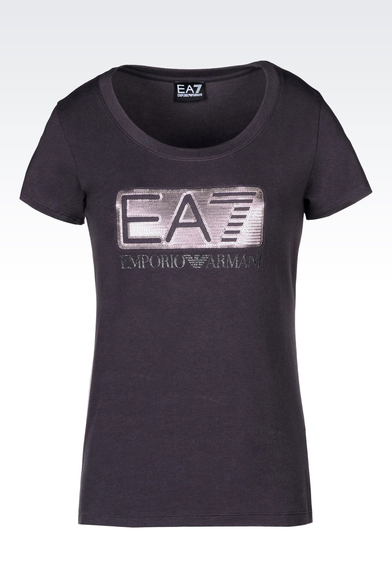 T-SHIRT IN STRETCH COTTON WITH SEQUIN LOGO: Short sleeved t-shirts Women by Armani - 0
