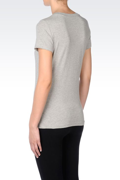 T-SHIRT IN STRETCH COTTON WITH RHINESTONE LOGO: Short sleeved t-shirts Women by Armani - 4