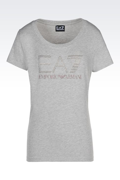 T-SHIRT IN STRETCH COTTON WITH RHINESTONE LOGO: Short sleeved t-shirts Women by Armani - 1