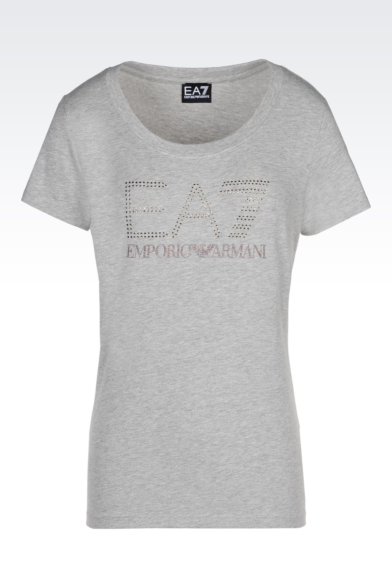 T-SHIRT IN STRETCH COTTON WITH RHINESTONE LOGO: Short sleeved t-shirts Women by Armani - 0