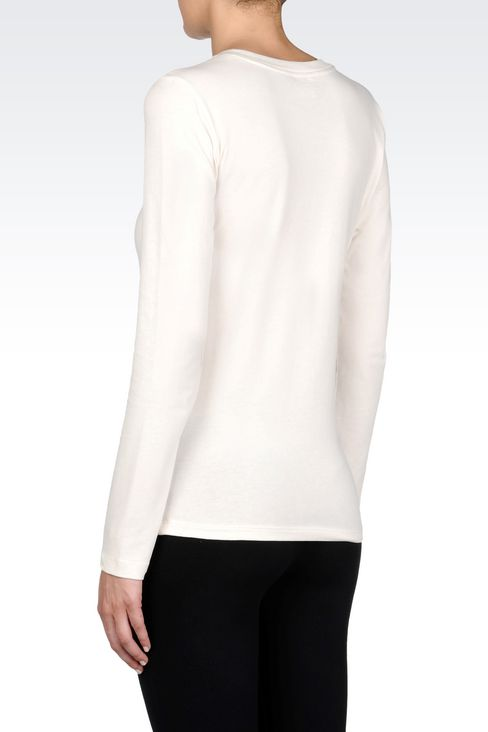 V-NECK T-SHIRT IN STRETCH COTTON WITH LOGO PRINT: Long sleeved t-shirts Women by Armani - 4