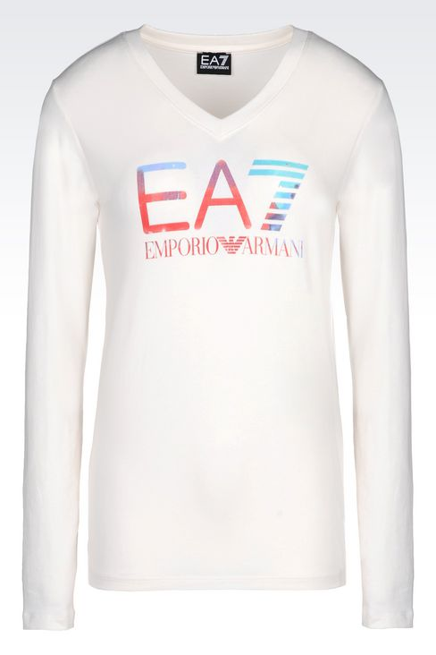 V-NECK T-SHIRT IN STRETCH COTTON WITH LOGO PRINT: Long sleeved t-shirts Women by Armani - 1