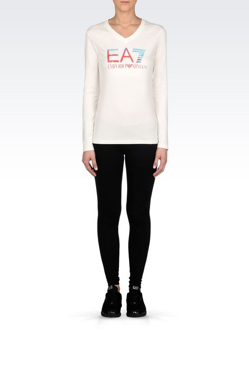V-NECK T-SHIRT IN STRETCH COTTON WITH LOGO PRINT: Long sleeved t-shirts Women by Armani - 2