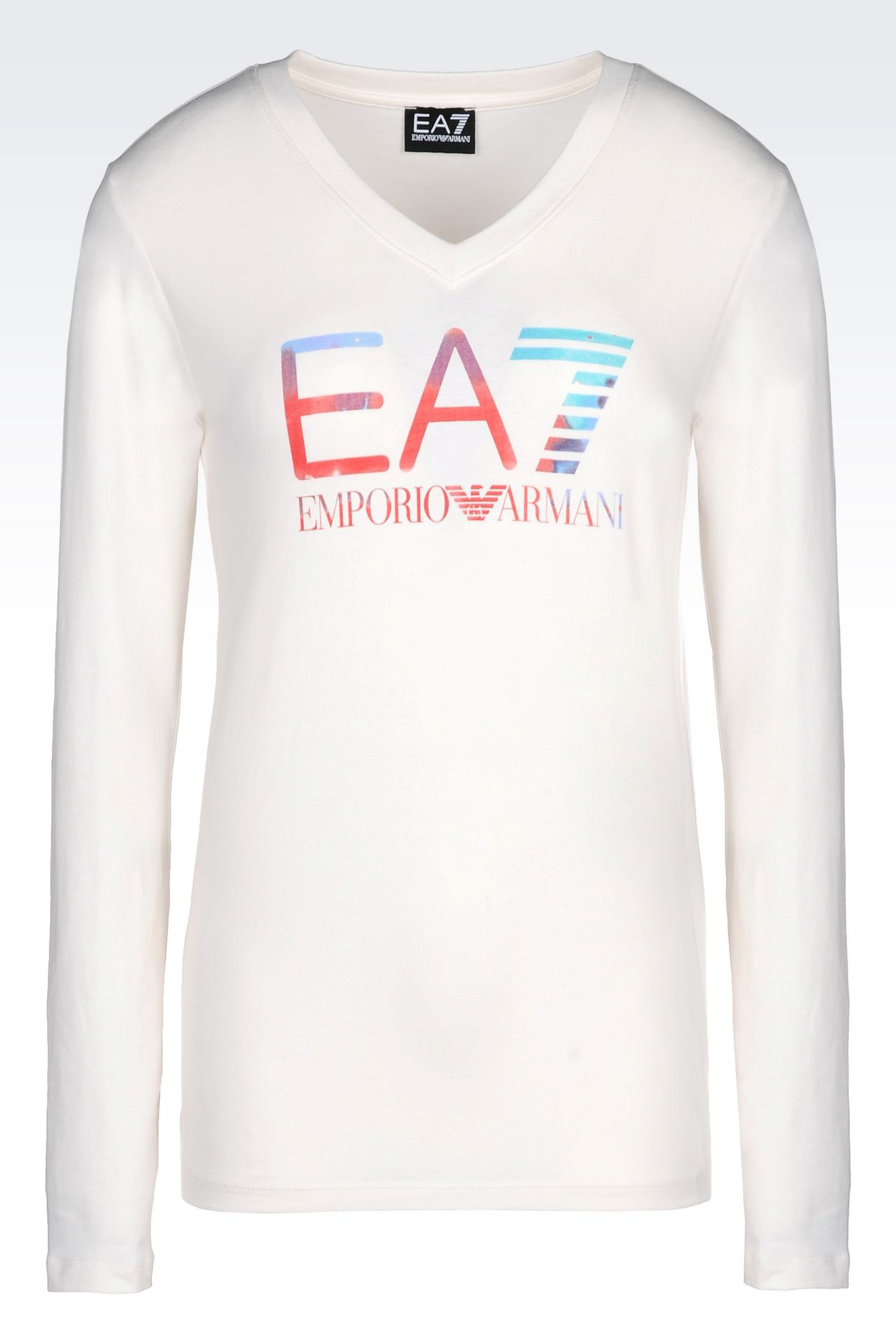 V-NECK T-SHIRT IN STRETCH COTTON WITH LOGO PRINT: Long sleeved t-shirts Women by Armani - 0
