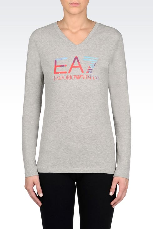 V-NECK T-SHIRT IN STRETCH COTTON WITH LOGO PRINT: Long sleeved t-shirts Women by Armani - 3