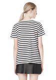 T by ALEXANDER WANG STRIPE LINEN COTTON TEE TOP Adult 8_n_d