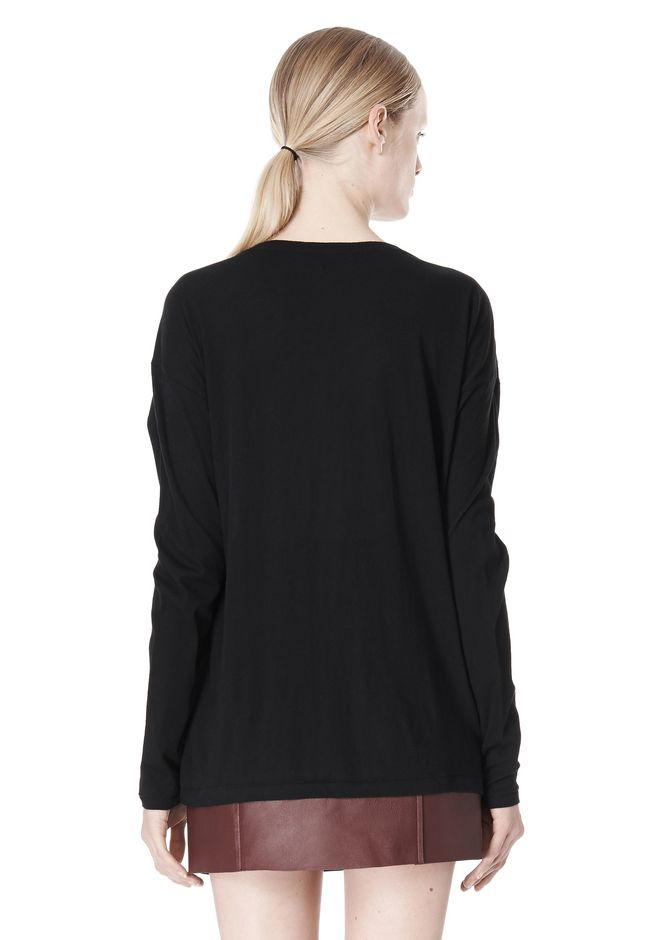 T by ALEXANDER WANG PIMA COTTON LOW NECK LONG SLEEVE TEE TOP Adult 12_n_d